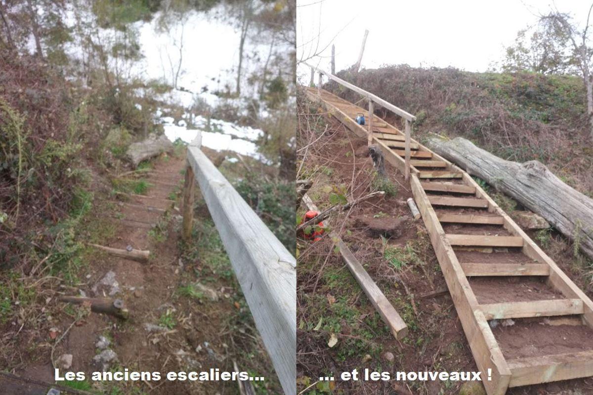 GR® 65 : de nouveaux escaliers en bois…